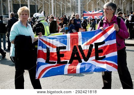 London, United Kingdom, March 29th 2019:- Pro Brexit Protesters Outside The British Parliament Deman
