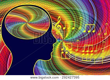 Music Activates The Brain. Listening And Playing Music Stimulates The Brain Cells And Reliefs Stress