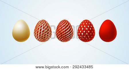 Easter Egg Set Of Elegant Modern Luxury Red Gold Easter Eggs With A Spiral Lines Pattern Specks Dots