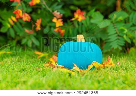 Halloween Teal Pumpkin Outside. Symbol Of Safety Celebration Halloween For Kids With Food Allergy.