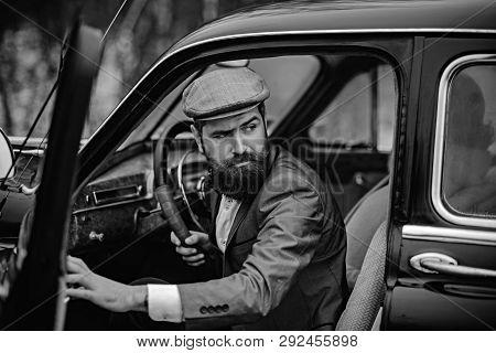 Escort Man Or Security Guard. Escort Service Of Bearded Man In Retro Car