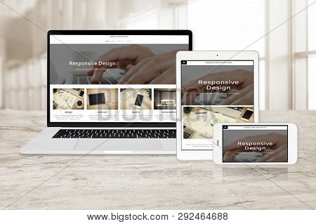 Concept Image Of Multi Device Technology For Responsive Web Design - Laptop , Digital Tablet And Sma