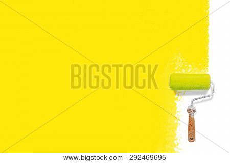 Roller Brush With Yellow Paint  Mockup. Creative, Decorating And Renovation Background