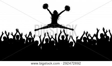 Silhouettes Of Jumping Girl With Pompoms (stredl Jump) And Applauding Crowd. Vector Illustration.