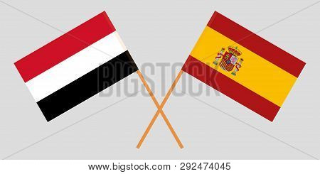 Yemen And Spain. The Yemeni And Spanish Flags. Official Colors. Correct Proportion. Vector Illustrat