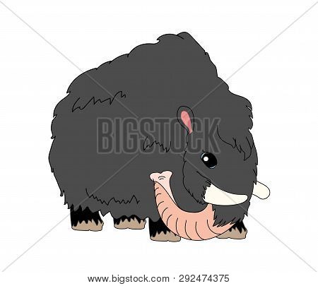 vector scandi cartoon animal clip art woolly mammoth poster