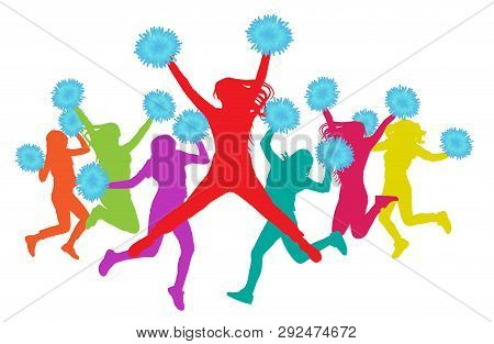 Jumping Girls With Pompoms (cheerleaders) Silhouette Colorful. Vector Illustration