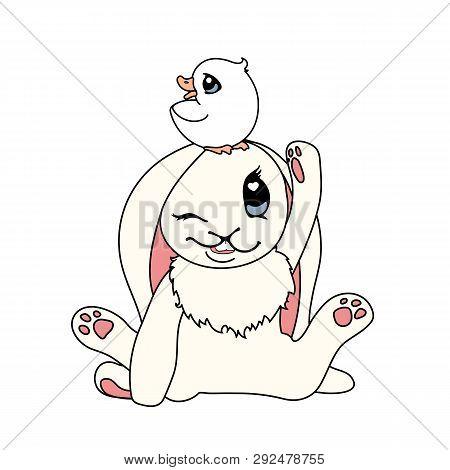 Vector Scandi Cartoon Animal Clip Art Bunny And Ducky