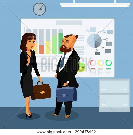 Businessman and Businesswoman Vector Illustration. Confident, Wealthy, Elegant Cartoon Characters. Successful Man and Woman Talking Drawing. Employee, Employer, Office Workers, Colleagues Concept poster