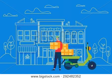 Motorcycle Fast Delivery Service. Man Courier Character Bring Box Parcel To Address On Outline Stree