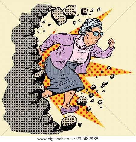 Active Old Granny Pensioner Breaks The Wall Of Stereotypes. Moving Forward, Personal Development. Po