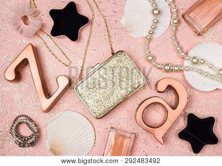 Beauty And Fashion Feminine Decor On Glittering Pastel Pink Background.