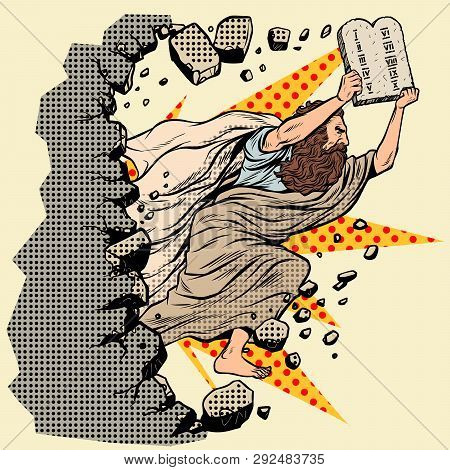 Moses With Tablets Of The Covenant 10 Commandments Breaks A Wall, Destroys Stereotypes. Christian An