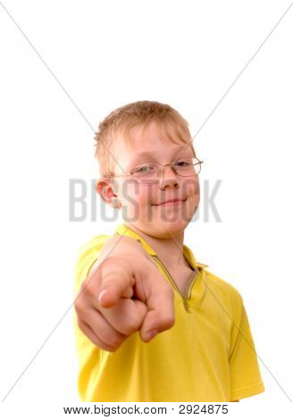 Boy Pointing His Finger Right At You