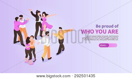 Lgbt Horizontal Isometric Banner With Dancing Homosexual Couples 3d Vector Illustration