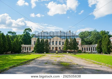 Abandoned Mansion. Holy Palace Volovichi, Castle In Svyatskoye. A Beautiful Old Architectural Struct