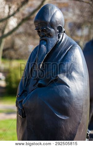 Budapest, Hungary - April, 2018: Lao Tse Statue At The Garden Of Philosophy Located At Gellert Hill