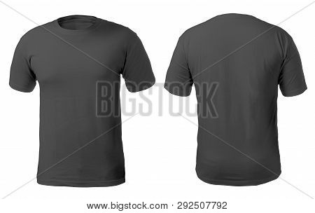 Blank Black Shirt Mock Up Template, Front And Back View, Isolated On White, Plain T-shirt Mockup. Te