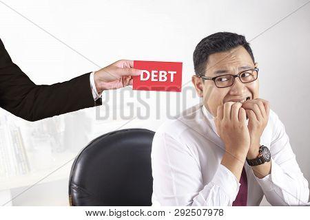 Young Asian Businessman Worried Afraid Of Debt, Man Feeling Frustrated Of Debt Deadline Concept