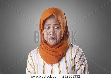 Shy Depressed Worried Muslim Woman
