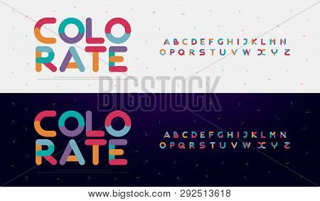 Modern Font Creative Rounded Alphabet Color Fonts. Typography Urban Round Bold With Colors Dot Expos