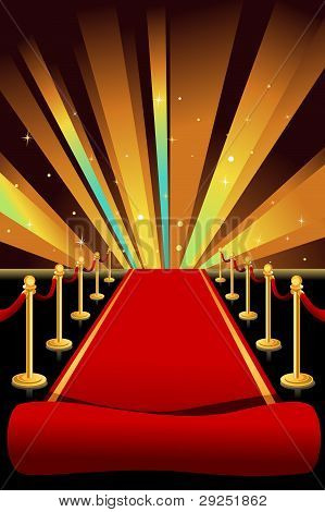 A vector illustration of red carpet background poster