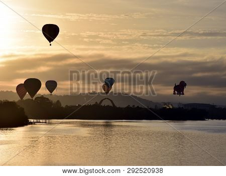 Canberra, Australia - March 10, 2019. Hot Air Balloons Flying In The Air Above Lake Burley Griffin,