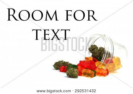 Marijuana Gummy Bears. Marijuana or Cannabis infused gummy candies. THC infused Gummies. CBD Infused Jellies