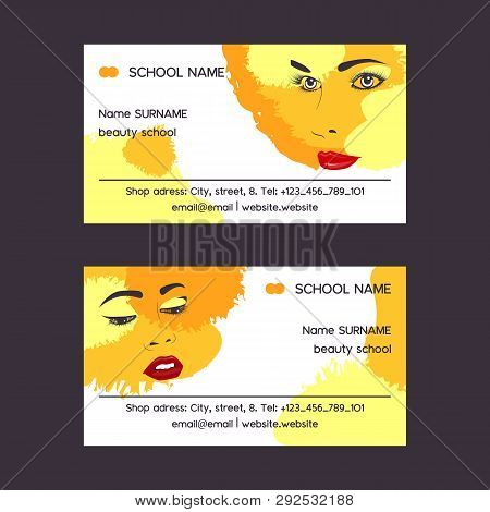 Woman Face Set Of Business Card Vector Illustration. Beauty Design For Salon, Make Up Artist Courses
