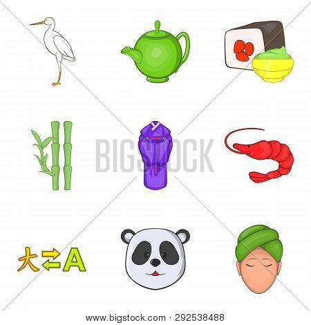 Chinese Lifestyle Icons Set. Cartoon Set Of 9 Chinese Lifestyle Icons For Web Isolated On White Back