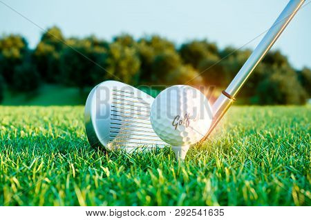 Golf Iron Stick And Ball On Course Before Impact. 3d Render