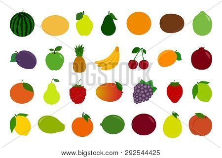 Set Of Fruit And Berry Icons. Vector.