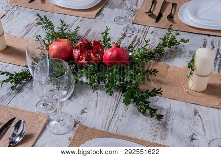 Beautiful Table Setting With Lavender Flowers On Wooden Background