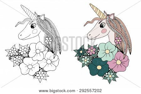 Black Line Unicorn With Long Hair And Flower For Coloring Book Or Pages