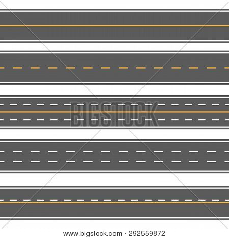 Creative Vector Illustration Of Horizontal Straight Seamless Roads Isolated On Transparent Backgroun