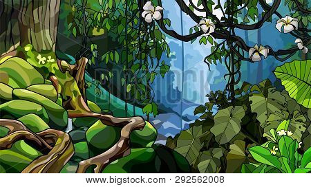 Impassable Jungle Background With Thick Tropical Plants