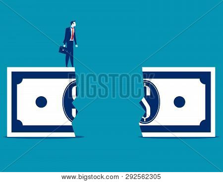 Businessman At Financial Chasm. Concept Business Vector Illustration.