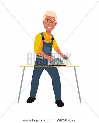 Happy Carpenter Working With Circular Saw. Vector Illustration In A Flat Style.