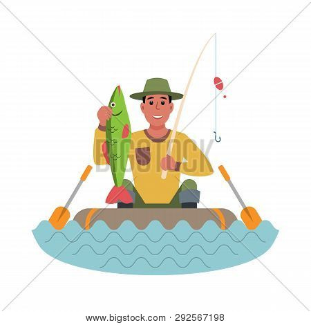 Fisherman In A Boat With Fish In His Hands. Flat Style Colorful Cartoon Illustration.