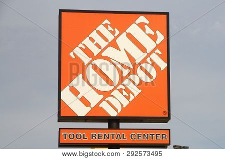 A Home Depot Sign Taken In Tulsa Ok With A Advertisement For A Tool Rental Center. Photo Was Taken D