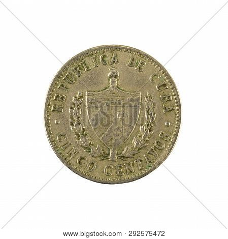 5 Cuban Centavo Coin (1961) Reverse Isolated On White Background