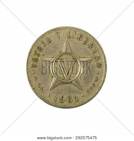 5 Cuban Centavo Coin (1961) Obverse Isolated On White Background