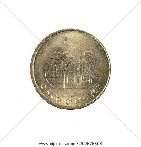 5 Cuban Intur Centavo Coin (1981) Reverse Isolated On White Background