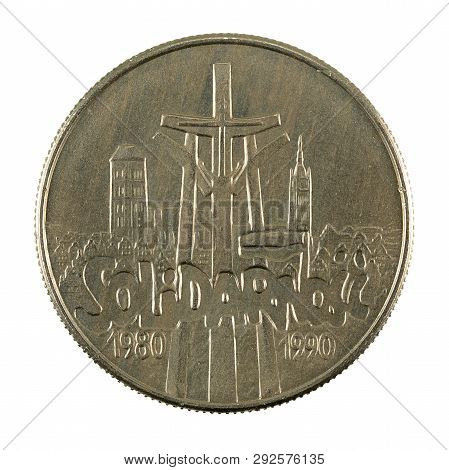 10000 Polish Zloty Coin (1990) Reverse Isolated On White Background