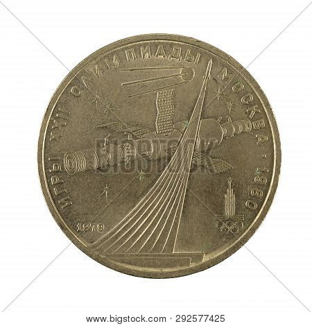 1 Russian Ruble Coin (1980) Obverse Isolated On White Background