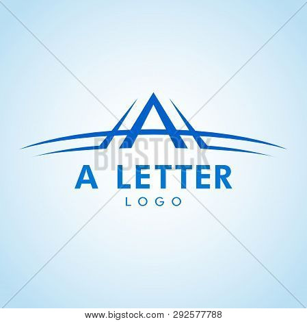 Letter A Logo With Swoosh In Color Shade. Vector Logo With The Stylized Letter A With Swoosh Shape.