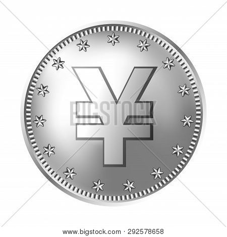 Silver Japanese Yen Or Chinese Yuan Coin, Money. Vector Detailed Realistic Illustration Isolated On