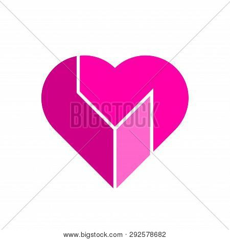 Vector Heart Logo. Logo Of Pink Heart Made Of Abstract Geometric Forms.