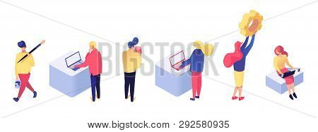 Set Of Men And Women Working In Different Workplaces, Building Web Pages And Elaborating Software Te