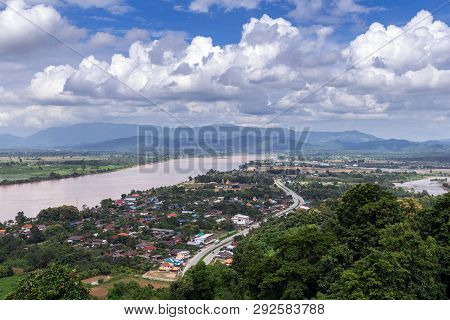 Mekong River At Chiang Saen District, Chiang Rai Province In Thailand, High Angle View Of Landscape